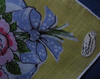Burmel Bouquet Handkerchief Vintage Pink Roses Ribbons Bows Cotton Print Unused Hankie Hanky with Original Label