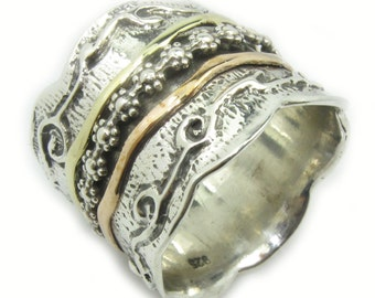 925 silver and gold spinning ring