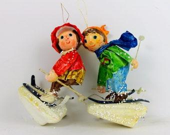 Vintage Paper Mache Norwegian Ornament Figurines Two Paper Mache Skiers DOWN HILL SKIERS