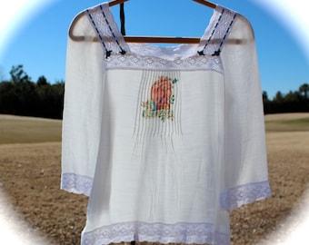 Boho Romantic El Corazon Peasant Top Delicate Semi Sheer  Roses Ribbon Work Frida Kahlo Size Small