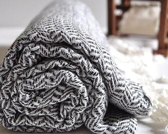 Vermicelli Pattern Turkish Towel Peshtemal towel in Black color Cotton Woven pure soft