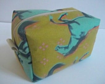 Horse Print Makeup Bag - Cotton and Steel Fabric