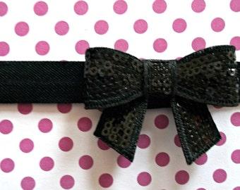 Sequin Baby Bow Headband - Small Flower Headband - Baby Photo Prop