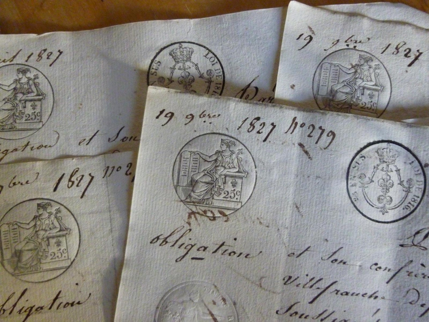 5 Antique French Paper's Documents Legal Hand Written