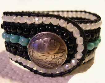 5 Row Beaded Cuff Bracelet, Boho Leather Wrap, Beaded Leather Cuff, Beaded Wrap Bracelet - 684
