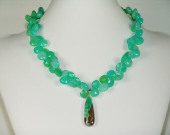 Heavenly Kelly Green Crysophase Necklace