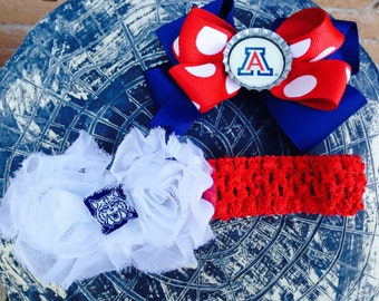 Arizona Wildcat Inspired Hair Bow and Shabby Flower Headband Set