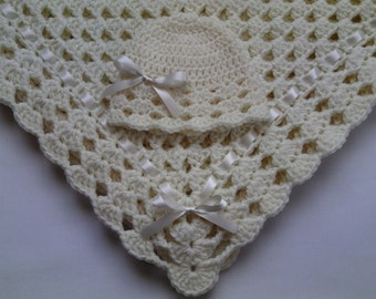 Crochet Baby Blanket and Baby Hat Set Gift Christening Baptism Ivory Beanie Afghan