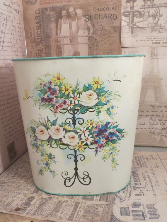 Vintage Cheinco Metal Floral Waste Basket Shabby By