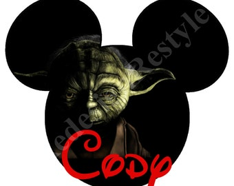 Star Wars Yoda Mickey Mouse Personalized Iron-On Digital File