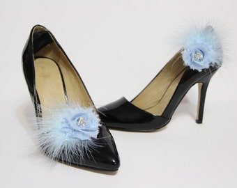 Shoe clips - Light blue flower, crystal and feather