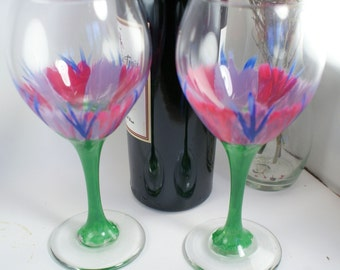 Hand Painted Wine Glass, Hand Painted Wine Glasses, Unique Wine Glasses, Wine Glass Set, Painted Wine Glass, Handpainted Wine Glass