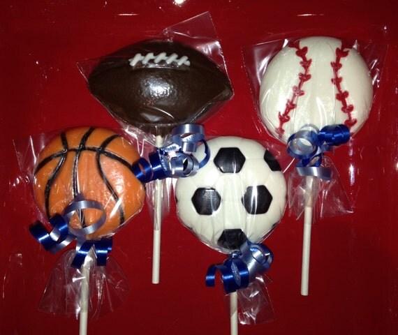 Baseball - Basketball - Football - Soccer Ball Chocolate Lollipops