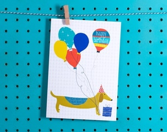 Sausage Dog Birthday Card - Design led stationery printed in the UK - Jessica Hogarth Designs cards - Quirky and colourful paper products