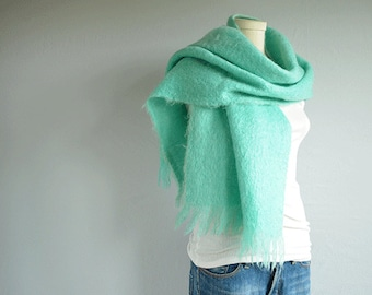 Vintage Mohair Scarf /  Oversized Aqua Scottish Wool Scarf Shawl / Made in Scotland
