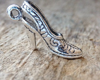 5pc High Heel Shoe Charm, Stiletto Charms, Antique Silver Charms, Jewelry DIY, 3D Charms, Jewelry Making, DIY, Craft Supplies