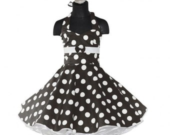 Girls 50's dress for petticoat custom made in black with large white dots