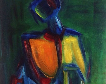 Study I .. Framed original oil painting 8x10 gold frame abstract figure