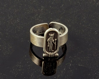 Egyptian Sun Moon Goddess Hathor Silver Gypsy Fertility Ring