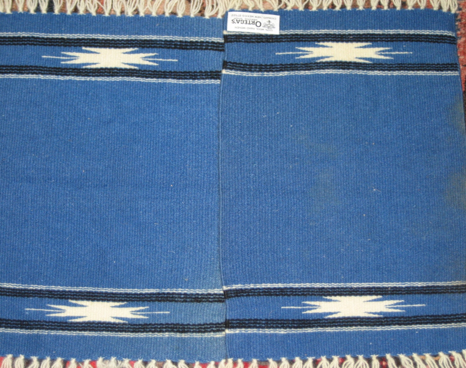 2 Vintage Chimayo Hand Woven Wool Mats Or Small Rugs From