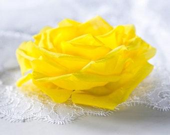 793_Yellow wedding hair accessory, Bright rose hair clip, Bridal flower hair clip, Big rose hair clip, Yellow bridal, Bright wedding clip