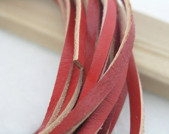 10 YARD 5.0x2.0mm Flat Red  Soft Real Cowhide Leather Cord Without Clasp Lobster