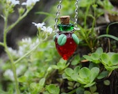 STRAWBERRY a  bright red blown glass vial necklace to hold essential oils