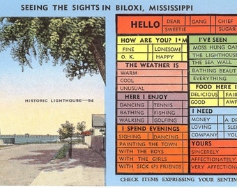 Vintage Linen Postcard...Seeing the Sights in Biloxi, Mississippi...Unused...no. 2360