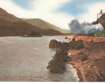 Vintage Postcard.......Columbia River and Cascade Mountians…on the North Road (Railrooad), Washington...Unused...no. 3000