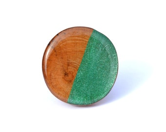 Natural wood and emerald green statement ring large statement ring, statement jewelry by Starlight Woods