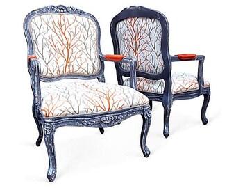 French Bergere Arm Chairs Upholstered Custom Grey Distressed White Orange Botanical Foliage Fabric Shabby Modern Chic Fun Style Decor
