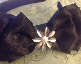 Black Satin Headband with Sliver flower accent