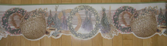 "Wallpaper Border - Imperial, David Carter Brown, 2 Rolls Dried Flower Border, CB089231D NIP, 9"" x 5 Yards"