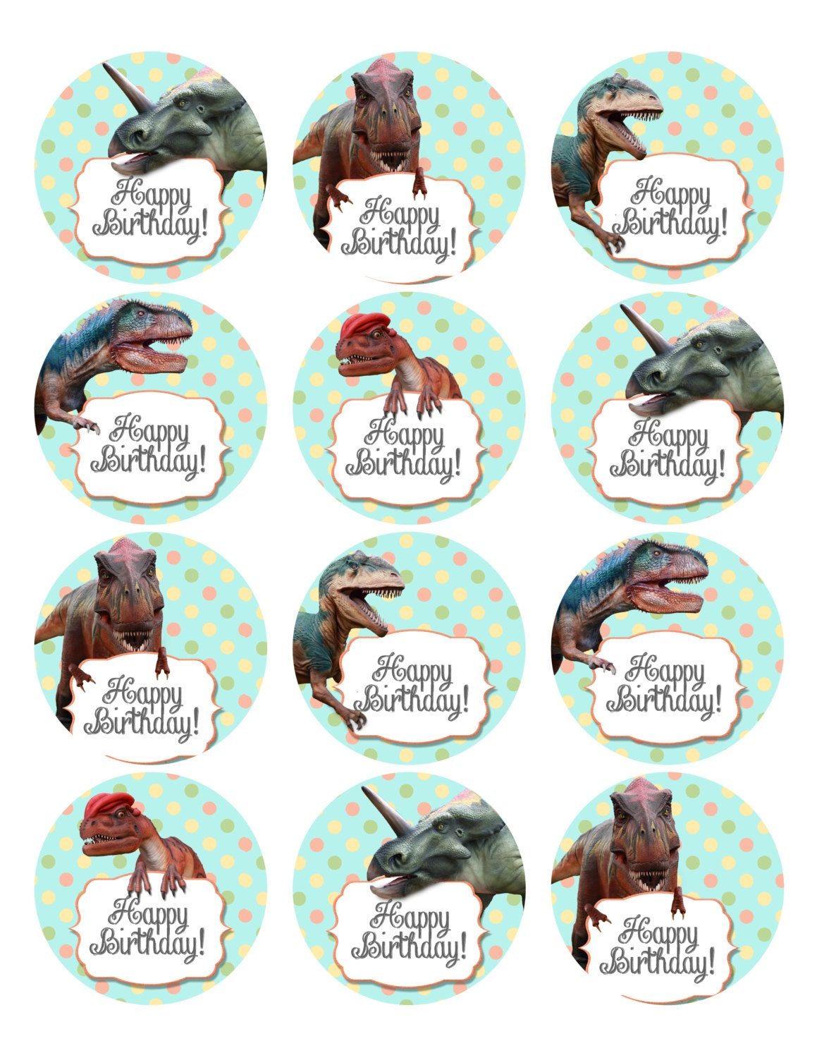 Dinosaur Party Cupcake or Cookie Topper 2.5 print