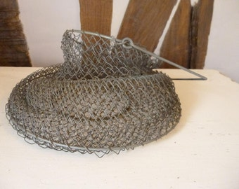 Wire Fish Basket Fishing French Rustic Farmhouse  or Industrial Loft