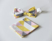 On Point Pinkish Bow Tie and Matching Pocket Square