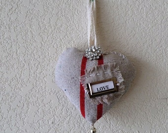 Primitive Heart door ornament/ Heart Door hanger