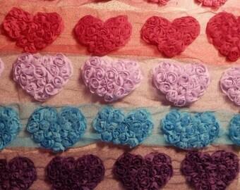 Small Chiffon Mesh / Rose Mesh Hearts - 6 Colors Available