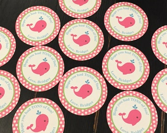 PREPPY WHALE GIRL Theme Party Happy Birthday or Baby Shower Favor Tags or Stickers 12 {One Dozen}  Pink Green Blue