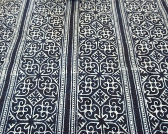 Hmong cotton-Indigo Batik New fabric, textiles and fabrics- From Thailand-Table runner,