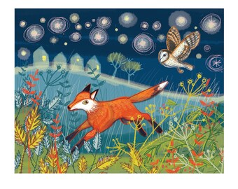 "Giclee print -  Fox and Owl 10"" x 8"""