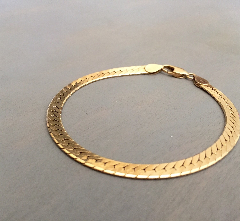 14k Gold Bracelet Herringbone Fine Jewelry Vintage Mens