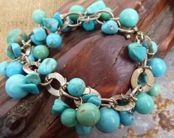 CHUNKY Howlite TUQUOISE beaded sterling boho sundance style bracelet