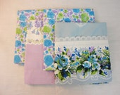 Vintage Pillowcase Set - Blue Purple Green Floral - Set of 4