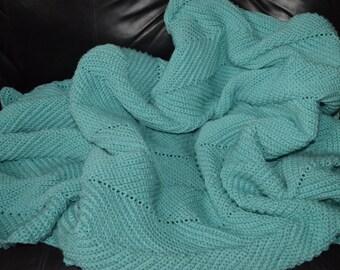 Large Crocheted Ripple Afghan in Aruba Sea