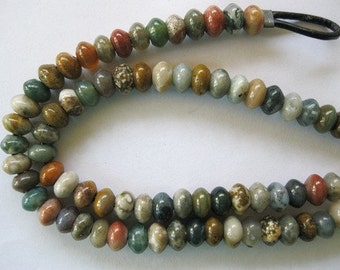 "Ocean Jasper Large Hole Bead 8MM Rondelle 8"" Big Hole Beads Fit Leather"