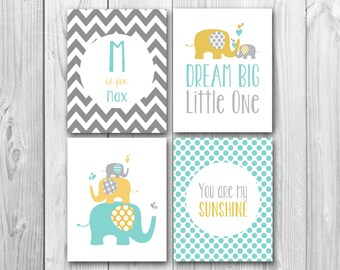Dream big little one, You are my sunshine, yellow and gray,  elephant art, baby shower gift