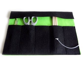 Felt tool case black and green - roll pencil case