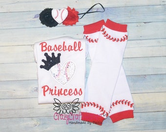Baby Girl Baseball outfit, baby baseball outfit, Baseball princess, baseball outfit, baseball sister