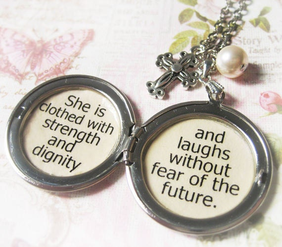 She Is Clothed With Strength And Dignity Bracelet: Inspirational Locket Quote Jewelry Necklace Bible Verse She Is